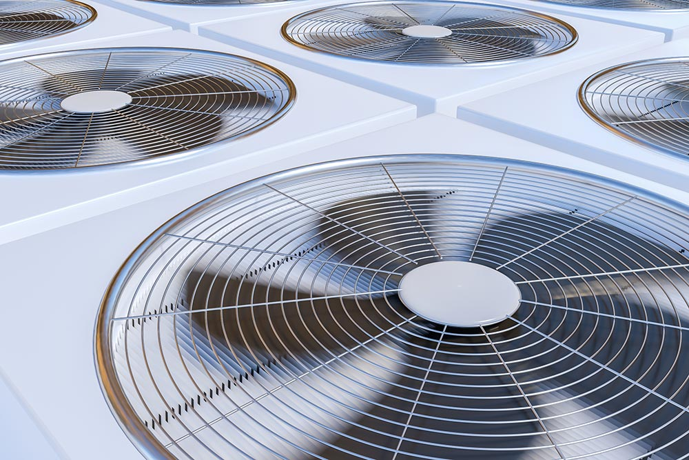 commercial air conditioning units with fans spinning