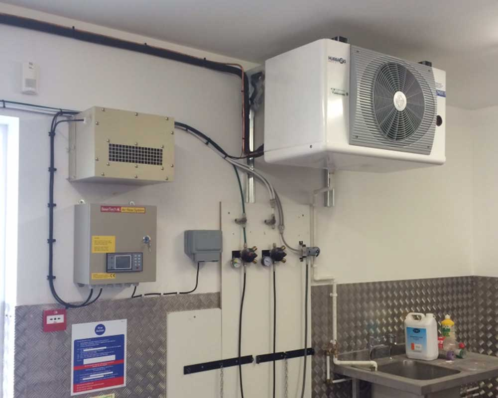 cellar refrigeration unit on wall